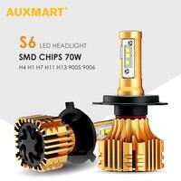 AUXMART Hi-Lo Beam H13 H4 LED Koplampen 6500 K 70 W 7000lm Led H7 9005 9006 Rally Auto Koplamp H11 H8 Mistlampen 12 V 24 V