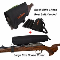 Tourbon Hunting Gun Accessories Large Size Neoprene Rifle Scope Cover Black Rifle Buttstock Cheek Rest Pad