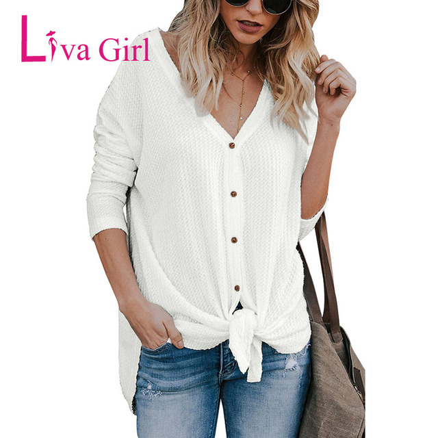 77968237 Liva Girl Casual Waffle Knit Button Front Blouse For Women Spring Spring  Sexy V Neck Long Sleeve Fashion Knotted Blusas And Tops