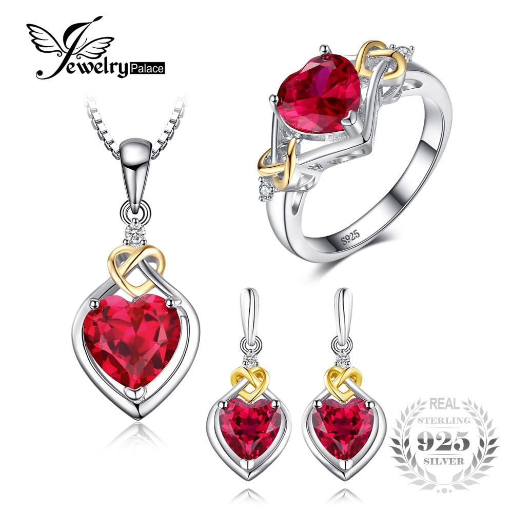 Jewelrypalace amor nudo corazón 8.4ct creado Ruby aniversario promesa anillo gota cuelgan Pendientes COLLAR COLGANTE 925