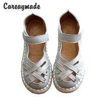 New 2016 Summer Genuine Leather Sandals Pure Handmade White Shoes The Retro Art Mori Girl Flats