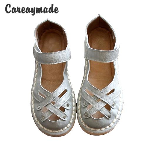 Careaymade-New 2017 Genuine Leather Sandals,pure handmade white shoes ,the retro art mori girl Flats shoes,fashion Doll shoes. genuine leather cover pure handmade card