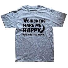 WEELSGAO T Shirt Novelty Tops Funny Men Crew Neck Chickens Make Me Happy Funny Short-Sleeve T Shirt