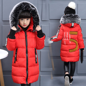 Image 3 - 2019 Girls Russian Winter Long Thickened Warm Cotton Outerwear & Coats Children Hooded Windbreakers Kids Embroidered Jackets  30