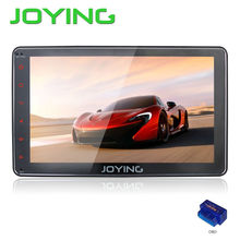 "Joying Newest 8"" Single 1 Din Quad Cord Android 4.4 Car Stereo GPS Navigation Music Player Support 3G WIFI SWC Dual Zone+OBD2"