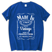 Made in 1969 Vintage men t shirt xmas gift tees and tops fashion cotton casual mens shirt short sleeve homme big size 3XL