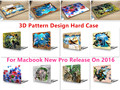 """3D Fashion Pattern Laptop Body Shell Protective Hard Case for Macbook New Pro 13"""" Retina 15"""" w/without Touch Bar Release on 2016"""