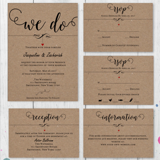Customized Rsvp Cards With Return Envelopes Reception Menu Thank You