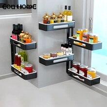 Алюминиевый сплав Кухня подставки-держатели Punch-free вращающаяся многослойная настенная подвесная приправа для ванной комнаты душевой стеллаж для хранения
