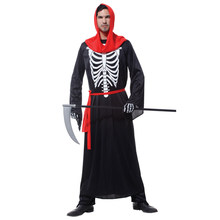 Adult Mens Scary Skeleton Death Robe Grim Reaper Costumes Halloween Purim Party Carnival Masquerade Cosplay Outfit