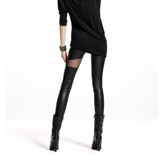 Women's Sheer Mesh Detail Eco-Leather Leggings