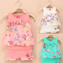 Hot Summer Baby Toddles Kids Girls Suit Flower Bow Tulle Vest Suit Dresses 1-5Y