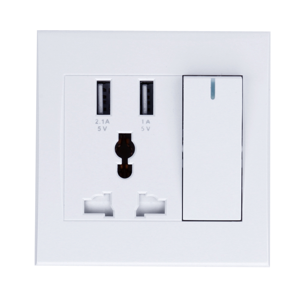 цена на Universal 5V Square USB Wall Socket 86 Type Concealed Dual USB Wall Socket USB with Switch Mobile Phone Tablets Charging