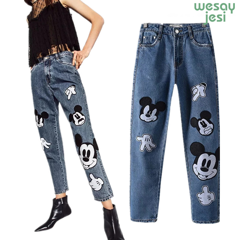 2019 Trousers Mom Jeans Ladies Women High Street Patchwork Loose Softener Harem Denim Pants Cartoon Mickey Women Plus Size
