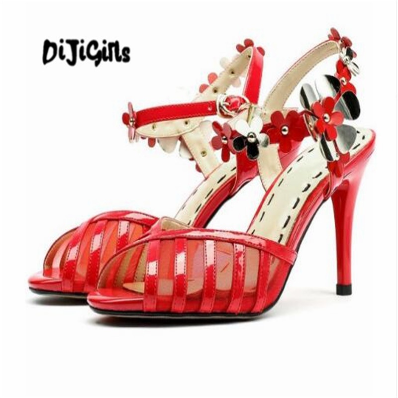 DIJIGIRLS genuine leather open toe pumps superstar three-dimensional flowers stiletto hollow dinner banquet party shoes