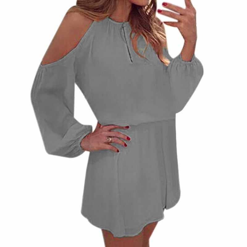 2018 เซ็กซี่ชุดชายหาดผู้หญิง High Cut ฤดูร้อนแขนยาวปิดไหล่สบายๆชีฟองหลวม Tunic Mini Vestidos