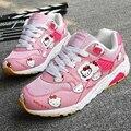 Горячей Продажи Новых женщин Леди Подростки Студенты Моды Случайные Мелкие Плоские Мультфильм Hello Kitty Шаблон Кроссовки Обувь Chaussures G380