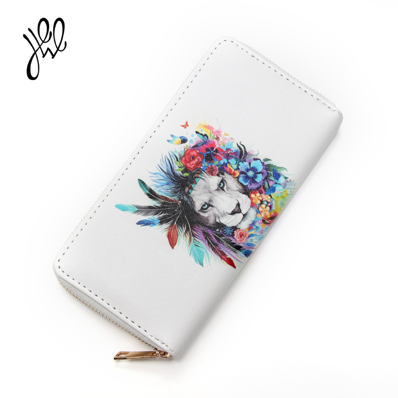 Fashion New Style Lion Printing Women Wallet Leather Purse Long Ladies Wallet Big Dollar Price Bag Money Wallet For Cards 500816 fashion women leather bags wallet purse tassel brand wallet women purse dollar price travel coin purse credit money mlt812wallet