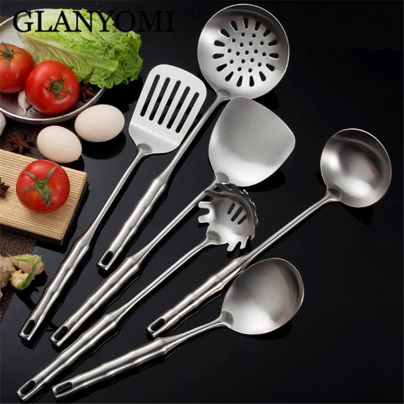 6Pcs Set 304 Stainless Steel Cooking Tool Sets Slotted Spoon Turner Pasta Server Kitchenware Kitchen Utensil