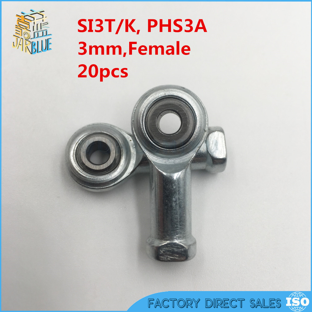 10pcs 3mm Female Right Hand Thread Rod End Joint Bearing Metric Thread M3x0.5mm