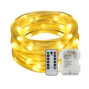 Image 1 - 10M 5M 100/50 LED batterie Seil Rohr Lichterketten Outdoor Garten Weihnachten Girlande Led Globus führte Streifen Fee licht Wasserdicht