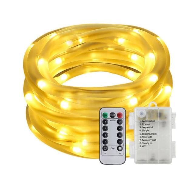 10M 5M 100/50 LED batterie Seil Rohr Lichterketten Outdoor Garten Weihnachten Girlande Led Globus führte Streifen Fee licht Wasserdicht