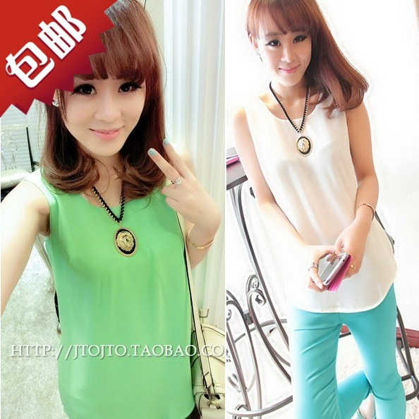 Spring and summer fashion candy color loose slim chiffon sleeveless basic shirt small vest spaghetti strap female