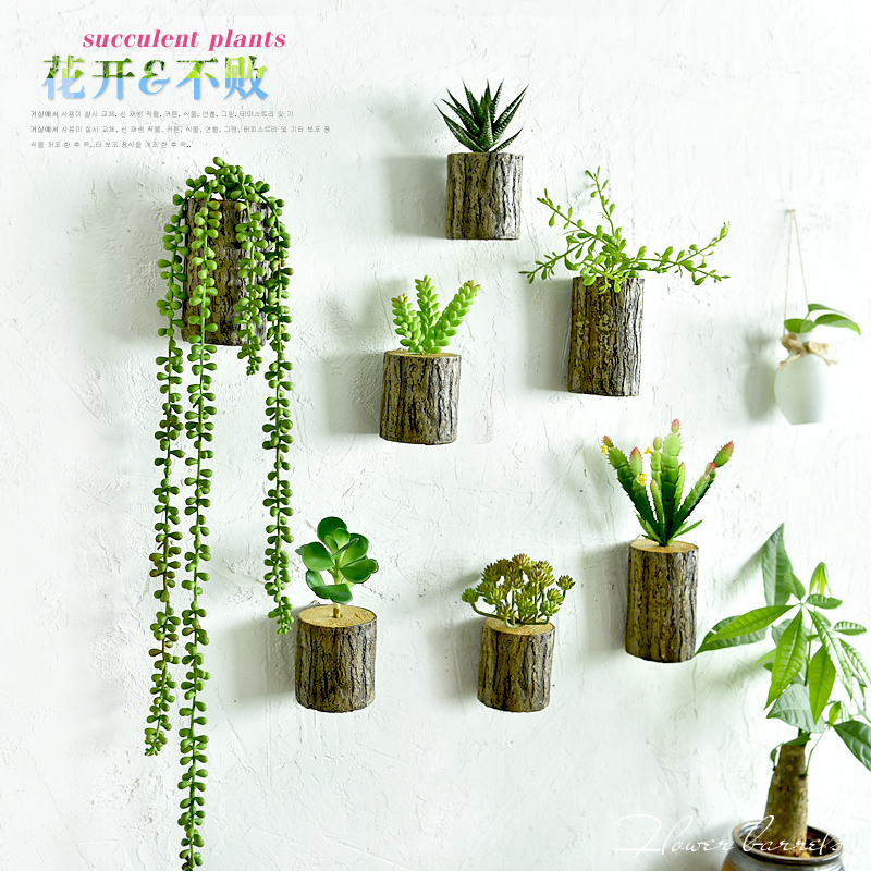 New Arrival 3d Wall Tree Stump Plants Imitation Flower Pots Artificial Wall Decor Plants Home