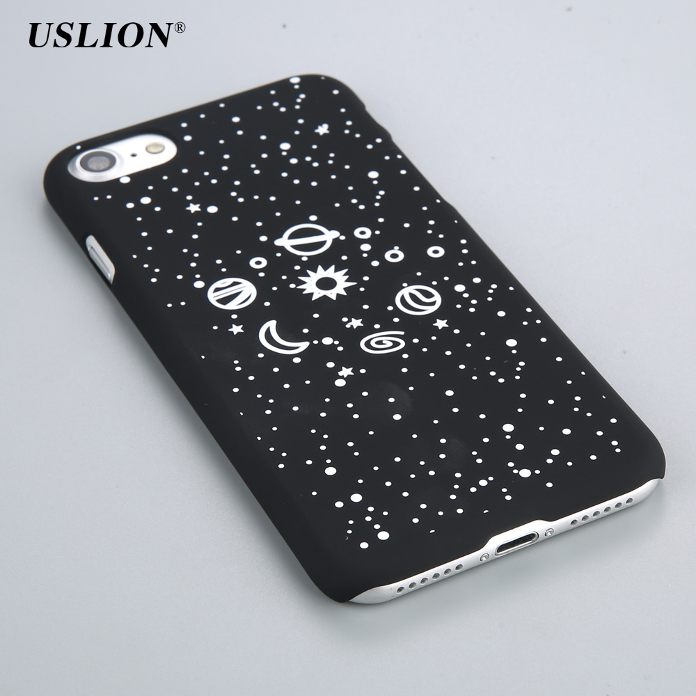 86dce121e1 USLION Phone Cases For iPhone 7 6 6s Plus 5 5S SE Starry Space Saturn  Planet Star Case Hard PC Back Cover Capa Coque .