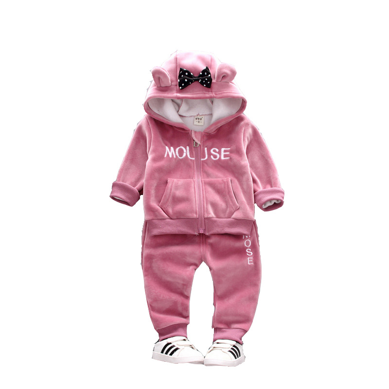 kids baby clothes girls winter warm thicken full sleeve letter cartoon Bunny ears bow coat  mid waist harem pants girl sets 1-5T