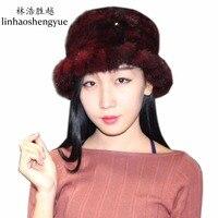 Linhaoshengyue כובע חורף כובע הפרווה האופנה הנשים מינק נדל פרווה חמות אביב החדש freeshipping
