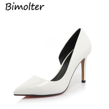 Bimolter Women pumps Fashion pointed toe Cow leather stiletto high heels Spring autumn wedding shoes woman Zapatos Mujer NB026 цены