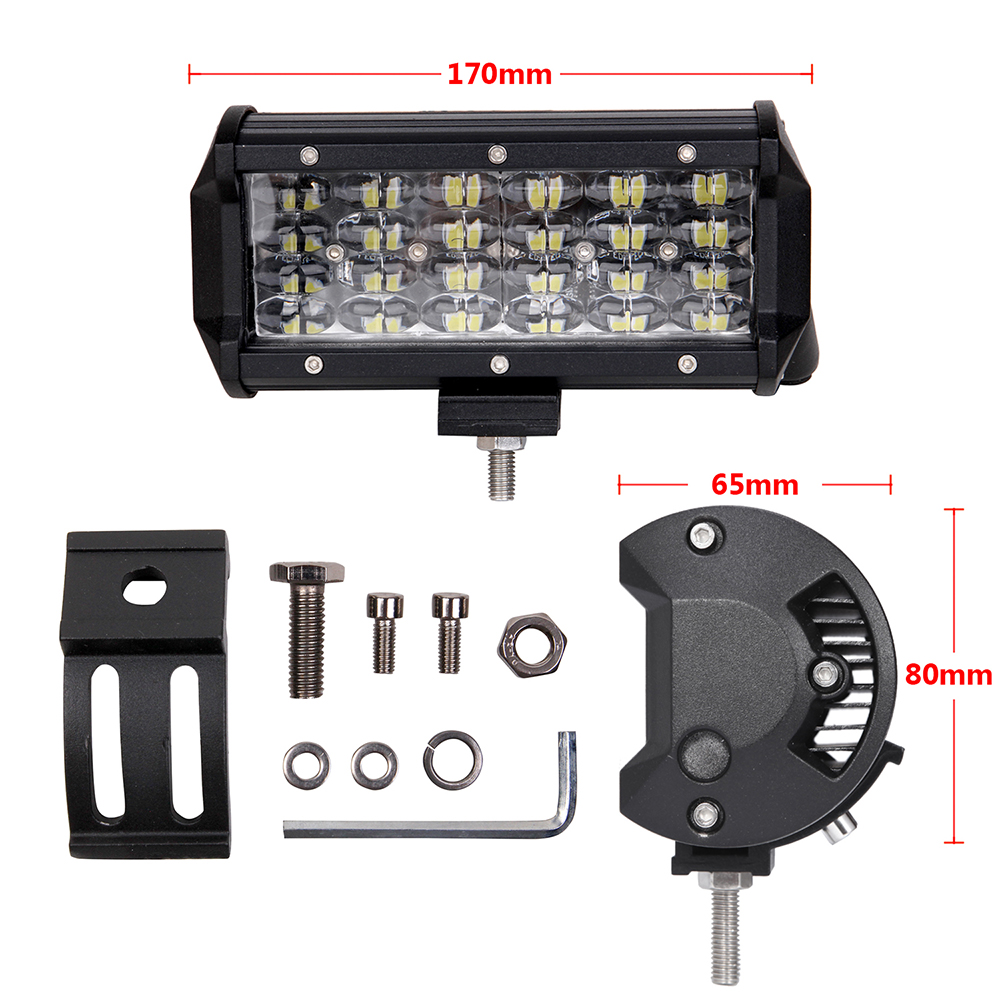 ECAHAYAKU 7 inch LED Bar Rated 72W Actual LED Work Bar Light for Tractor Boat OffRoad 4WD 4x4 Truck SUV ATV Driving 12V fog LAMP in Light Bar Work Light from Automobiles Motorcycles