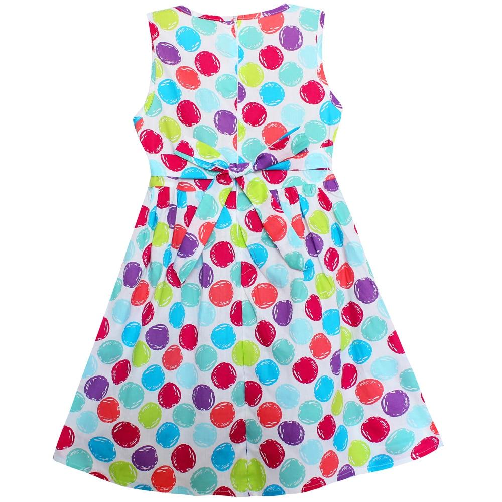 Shybobbi New Summer Girls Dress Colorful Dot Print Cotton Party ...