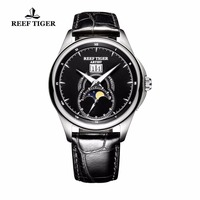 Reef Tiger/RT Fashion Watches Men Sports Double Window Leather Strap Watch Mechanical Moon Phase WristWatches Relogio Masculino