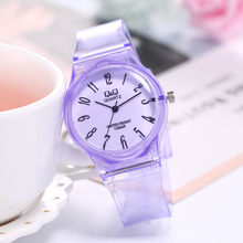 Transparent QQ Student Watches Transparent Silicone Boys Girls Wristwatch Cute Students Harajuku Quartz Clock Montre Enfant A4(China)