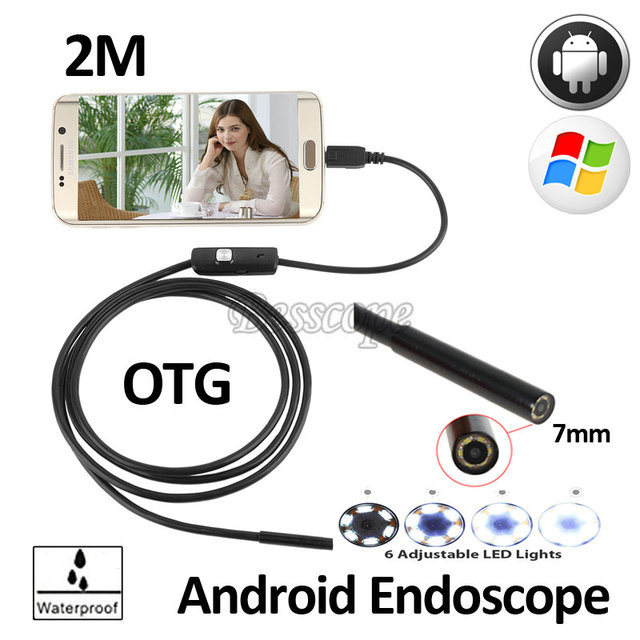 7mm OD Android USB Endoscope Camera 2M Flexible USB Snake Camera Android Phone USB Pipe Inspection OTG USB Borescope Camera