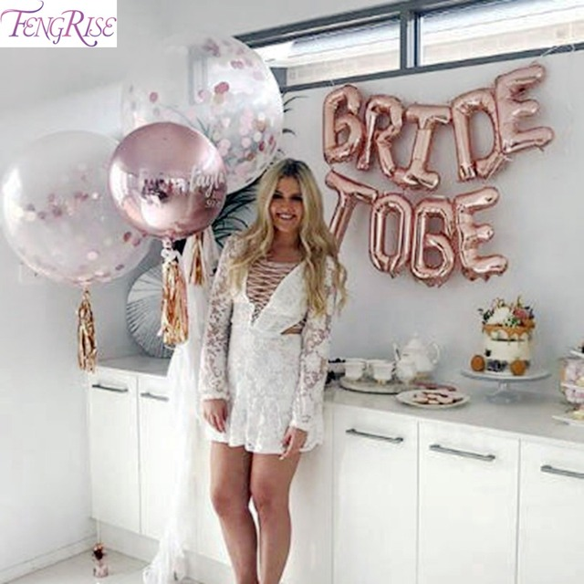 FENGRISE Miss To Mrs Balloon Bride To Be Balloons Rose Gold Party Decoration Team Bride To Be Crown Hen Bachelorette Supplies