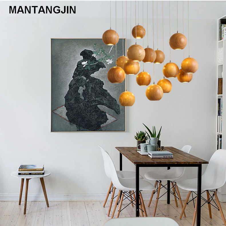 Madeira maciça moderno pingente de luz Japonês Chinês Nordic criativo minimalista sala de estar sala de jantar de madeira bola de madeira pingente lâmpada