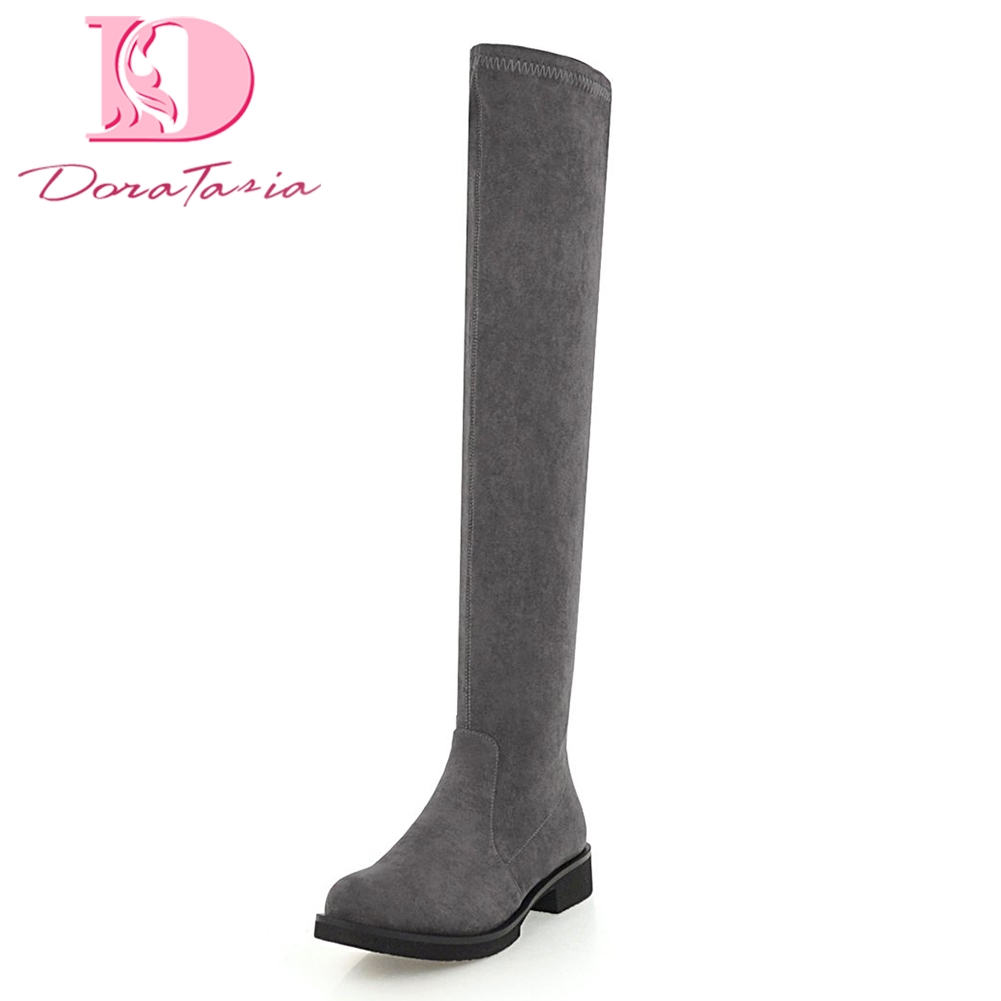 Doratasia Plus Size 33-46 Cow Suede Shoes Women Knee High Boots Chunky Heels Zip Up Add Fur Winter Boots Woman Shoes bonjomarisa women riding style motorcycle boots chunky heel platform shoes woman winter add fur knee high snow boots