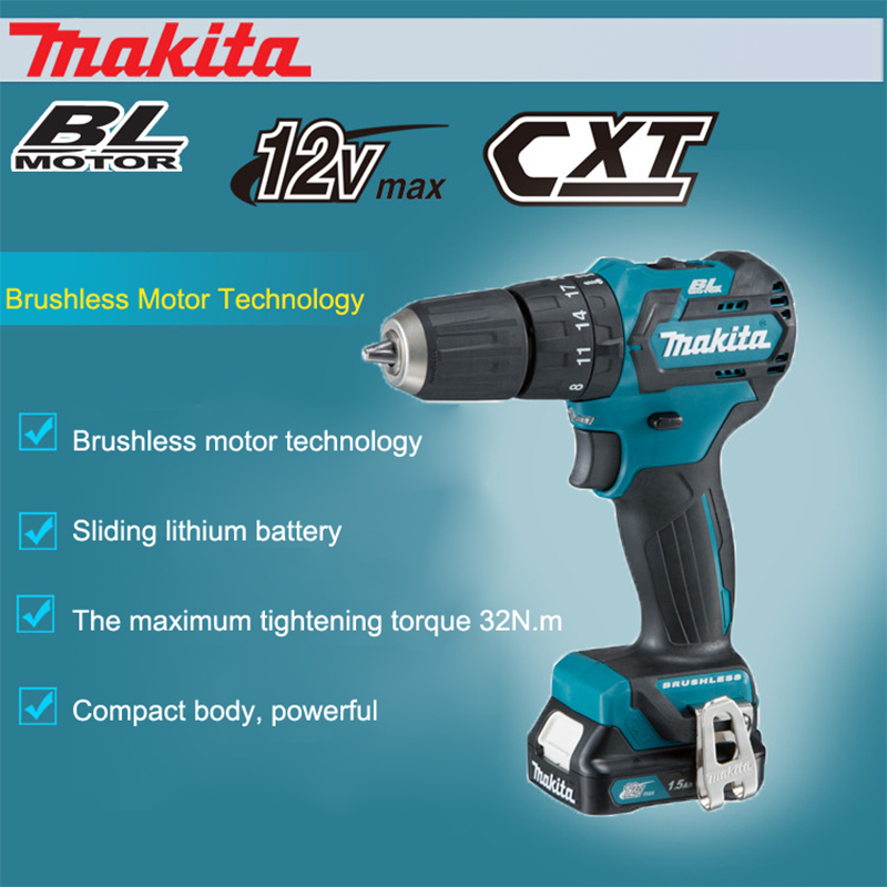 Japan Makita HP332/331DWAE Charging Impact Drill Brushless Lithium Battery Technology Electric Drill Electric Screwdriver  32N.m impact wrench