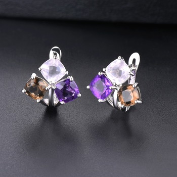 Hutang Colorful Gemstone Hoop Earrings 925 Sterling Silver Natural Amethyst Rose Smoky Quartz English Lock Jewelry for Women New 3