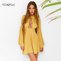 Women Sexy Open Chest Dress Mini A Line Flare Sleeve Bandage Cross Lace Up Backless Hollow