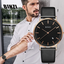 BINZI New Ultrathin Black Quartz Men Watch Leather Mens Watches Calendar Reloj Hombre Simple Grace Waterproof