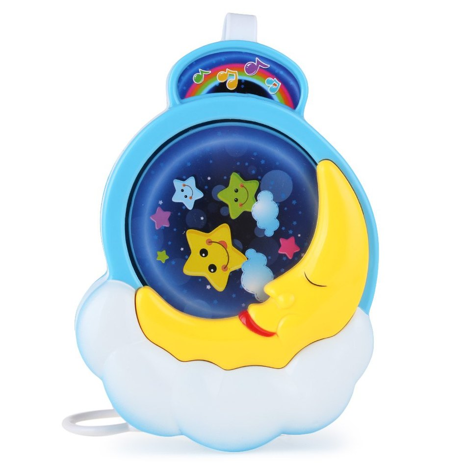 Crib music box for babies - 2016 New Arrival Baby Bed Bell Moon Rotation Musical Box Crib Cute And Lovely Toy With