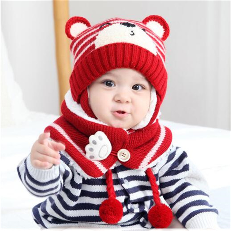 93f7bc85915 Winter Baby Knit Hat Cute Bear Print Boy Girl Kids Warm Hat Cap + Scarf  Ring for Child 6 to 36 Months Baby Hat Scarf set 2pcs - aliexpress.com -  imall.com
