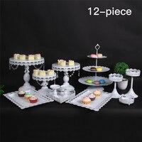 12 шт. набор украшения Инструмент Кристалл 3 уровня металла кекс серебро стоять свадебный торт