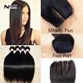 Produtos para o cabelo da malásia virgem cabelo com lace closure novia 4 pacotes malaio cabelo liso com encerramento oriente/free/3 parte