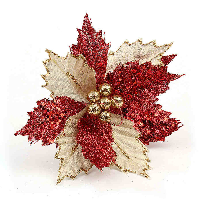aliexpresscom buy glitter big christmas flower 86 inch poinsettia fake flower christmas tree 22cm wedding party decoration ornament from reliable fake - Red Christmas Flower