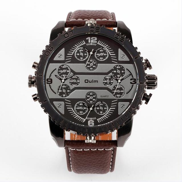 4 Time Zone Leather Band Casual Japan Quartz Movement Wrist Watch Luxury Timepiece 5